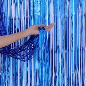 Шторка занавес из фольги для фото зон, СИНЯЯ 1х2 метра