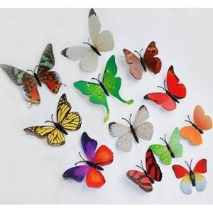 (12 шт) Комплект метеликів 3d на магніті, РІЗНОКОЛЬОРОВІ