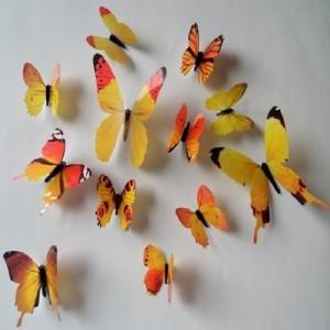 (12 шт) Комплект метеликів 3d на скотчі, ЖОВТІ кольорові