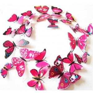 (12 шт) Комплект метеликів 3d на магніті, МАЛИНОВІ кольорові