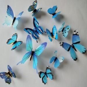 (12 шт) Комплект метеликів 3d на скотчі, БЛАКИТНІ кольорові