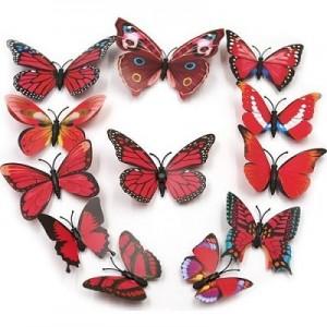 (12 шт) Комплект бабочек 3D  на магните , КРАСНЫЕ цветные