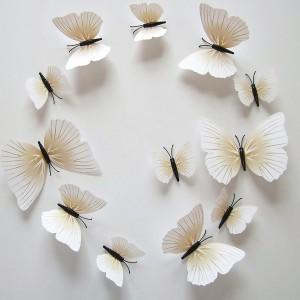 (12 шт) Комплект метеликів 3d на магніті, КРЕМОВІ