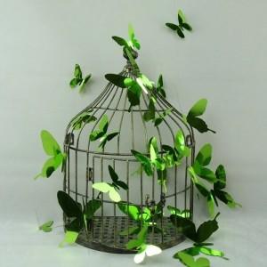 (12 шт) Комплект метеликів 3d на скотчі, САЛАТОВІ дзеркальні