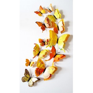 (12 шт) Комплект метеликів 3d на магніті, ЖОВТІ ПОДВІЙНІ кольорові