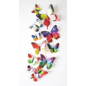 (12 шт) Комплект метеликів 3d на магніті, ВЕСЕЛКОВІ ПОДВІЙНІ кольорові