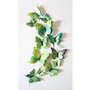 (12 шт) Комплект метеликів 3d на магніті, ЗЕЛЕНІ ПОДВІЙНІ кольорові