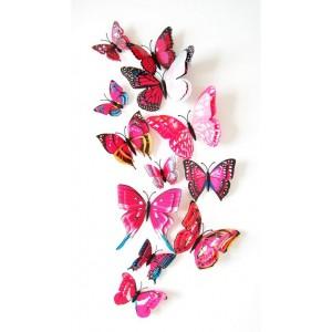 (12 шт) Комплект бабочек 3D  на магните, МАЛИНОВЫЕ ДВОЙНЫЕ цветные