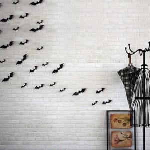 (12 шт) Комплект летучие мыши 3D на скотче, ЧЕРНЫЕ