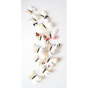 (12 шт) Комплект метеликів 3d на магніті, БІЛІ ПОДВІЙНІ кольорові