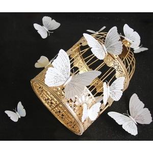 (12 шт) Комплект метеликів 3d на магніті, БІЛІ блискучі