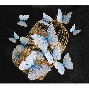 (12 шт) Комплект метеликів 3d на магніті, БЛАКИТНІ блискучі