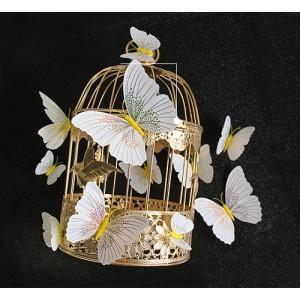 (12 шт) Комплект бабочек 3D  на магните  ,  ЖЕЛТЫЕ блестящие