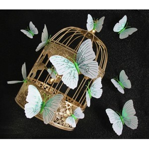 (12 шт) Комплект бабочек 3D  на магните  ,  ЗЕЛЕНЫЕ блестящие