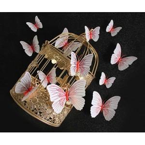 (12 шт) Комплект метеликів 3d на магніті, ЧЕРВОНІ блискучі
