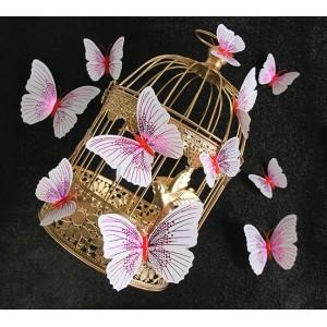 (12 шт) Комплект метеликів 3d на магніті, РОЖЕВІ блискучі