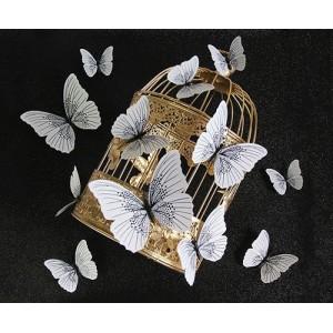 (12 шт) Комплект бабочек 3D  на магните  ,  ЧЕРНЫЕ блестящие
