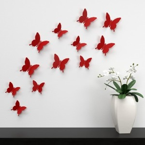 (12 шт) Комплект бабочек 3D  на скотче  , КРАСНЫЕ однотонные