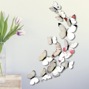 (12 шт) Комплект бабочек 3D  на магните  ,  БЕЛЫЕ цветные