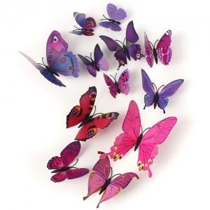(12 шт) Комплект метеликів 3d на магніті, ФІОЛЕТОВІ кольорові