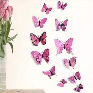 (12 шт) Комплект метеликів 3d на магніті, РОЖЕВІ кольорові
