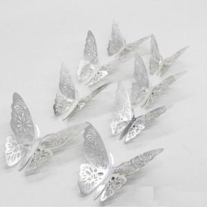 (12 шт) Комплект бабочек 3D  на скотче  , СЕРЕБРО ажурные