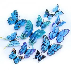 (12 шт) Комплект метеликів 3d на магніті, БЛАКИТНІ ПОДВІЙНІ кольорові