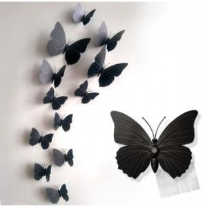 (12 шт) Комплект метеликів 3d на магніті, ЧОРНІ кольорові