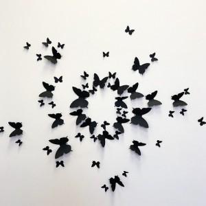 (12 шт) Комплект метеликів 3d на скотчі, ЧОРНІ однотонні