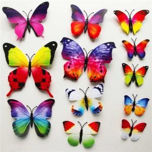 (12 шт) Комплект метеликів 3d на магніті, ВЕСЕЛКОВІ кольорові