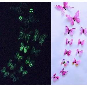 (12 шт) Комплект бабочек 3D  на скотче  , СВЕТЯЩИЕСЯ РОЗОВЫЕ цветные
