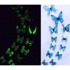 (12 шт) Комплект бабочек 3D  на скотче  , СВЕТЯЩИЕСЯ СИНИЕ цветные