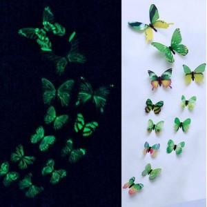 (12 шт) Комплект метеликів 3d на скотчі, ЗЕЛЕНІ, що світяться кольорові