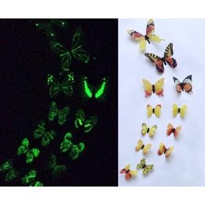 (12 шт) Комплект бабочек 3D  на скотче  , СВЕТЯЩИЕСЯ ЖЕЛТЫЕ цветные