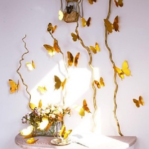 (12 шт) Комплект бабочек 3D  на скотче  ,  ЗОЛОТЫЕ зеркальные