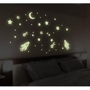 Наклейка на стіну, що світиться у темряві - РАКЕТИ