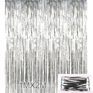 Шторка занавіс з фольги для фото зон, СРІБЛО 1х2 метра