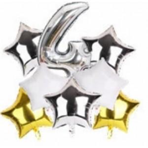 Набір фольгиваних куль ЦИФРА 4 СРІБЛО