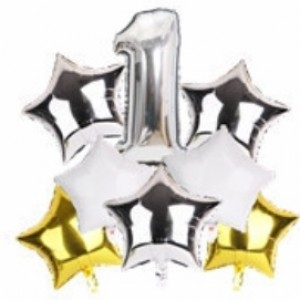 Набір фольгиваних куль ЦИФРА 1 СРІБЛО