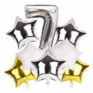 Набір фольгиваних куль ЦИФРА 7 СРІБЛО