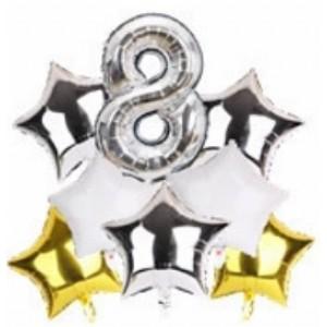 Набір фольгиваних куль ЦИФРА 8 СРІБЛО