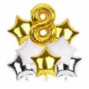 Набор фольгированных шаров ЦИФРА 8 ЗОЛОТО