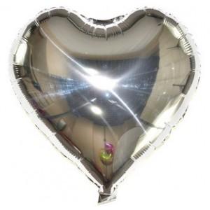 Кулька Сердце 10 дюймів ( 25 см ) СРІБНЕ