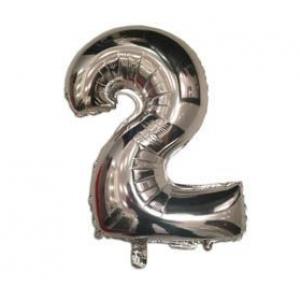 """Кулька цифра """"2"""" СРІБЛО, 40 см (14 дюймів)"""