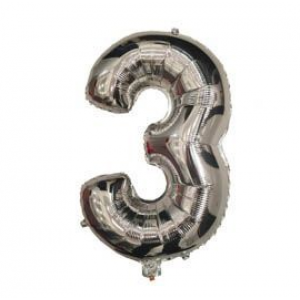 """Кулька цифра """"3"""" СРІБЛО, 40 см (14 дюймів)"""