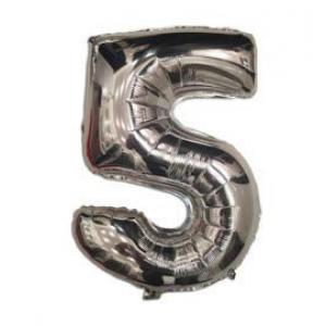 """Кулька цифра """"5"""" СРІБЛО, 40 см (14 дюймів)"""