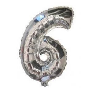 """Кулька цифра """"6"""" СРІБЛО, 40 см (14 дюймів)"""