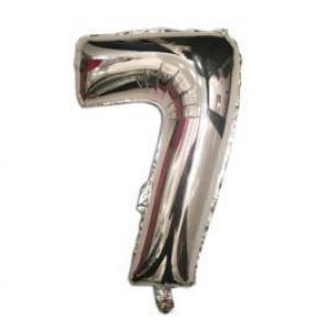 """Кулька цифра """"7"""" СРІБЛО, 40 см (14 дюймів)"""