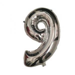 """Кулька цифра """"9"""" СРІБЛО, 40 см (14 дюймів)"""