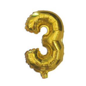 "Кулька цифра ""3"" ЗОЛОТО, 40 см (14 дюймів)"